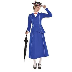 Mary Poppins Costume with Hat & Umbrella